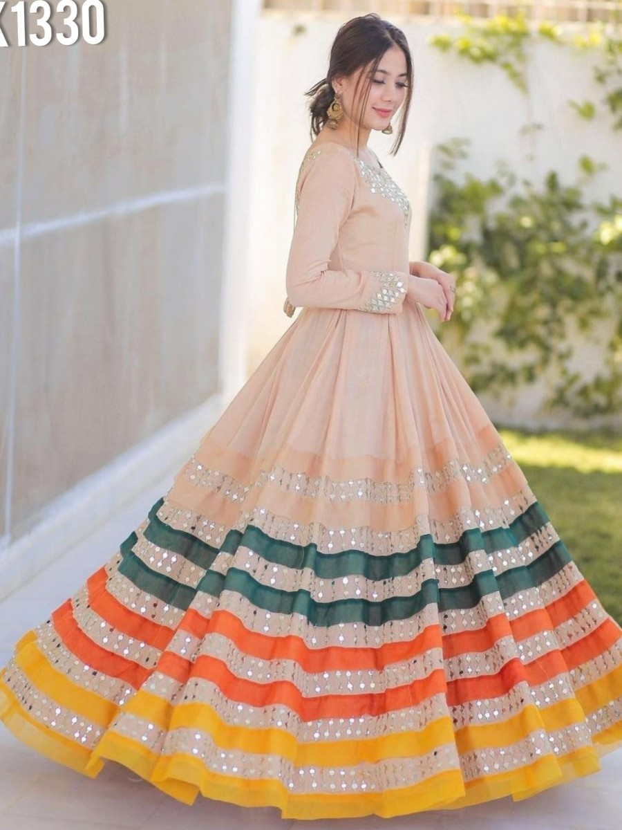 DESIGNER HEAVY GEORGETTE GOWN WITH EMBROIDERY WORK K1330