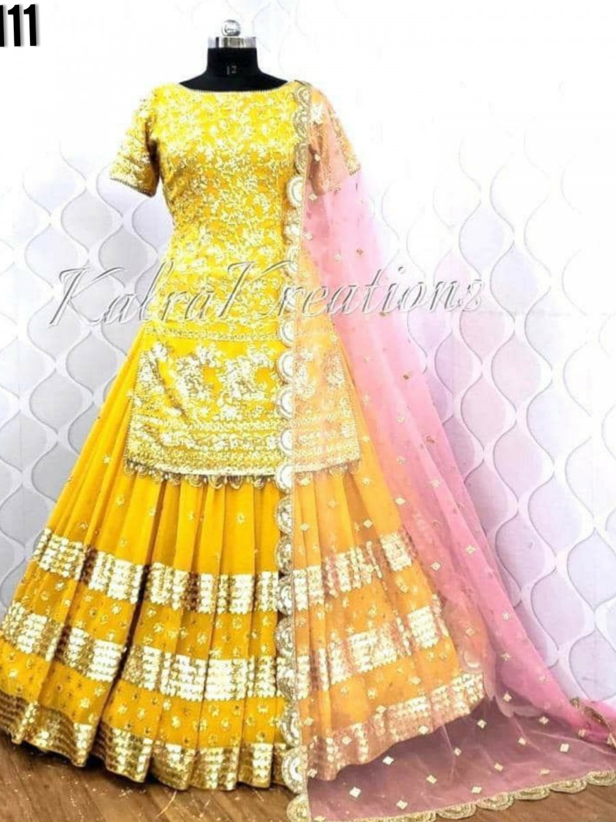 DESIGNER HEAVY GEORGETTE LEHENGA WITH EMBROIDERY WORK L111