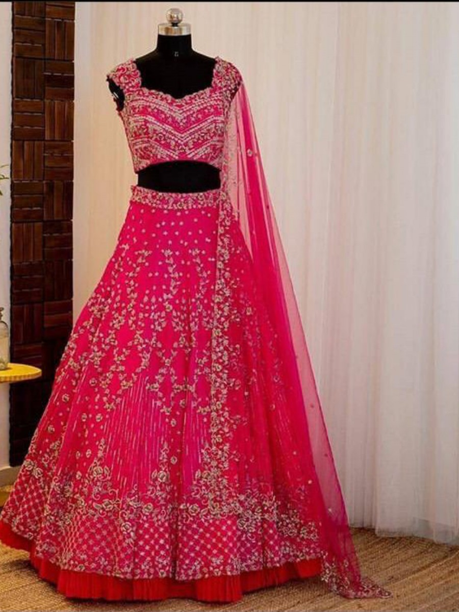 DESIGNER HEAVY GEORGETTE LEHENGA WITH EMBROIDERY WORK L51