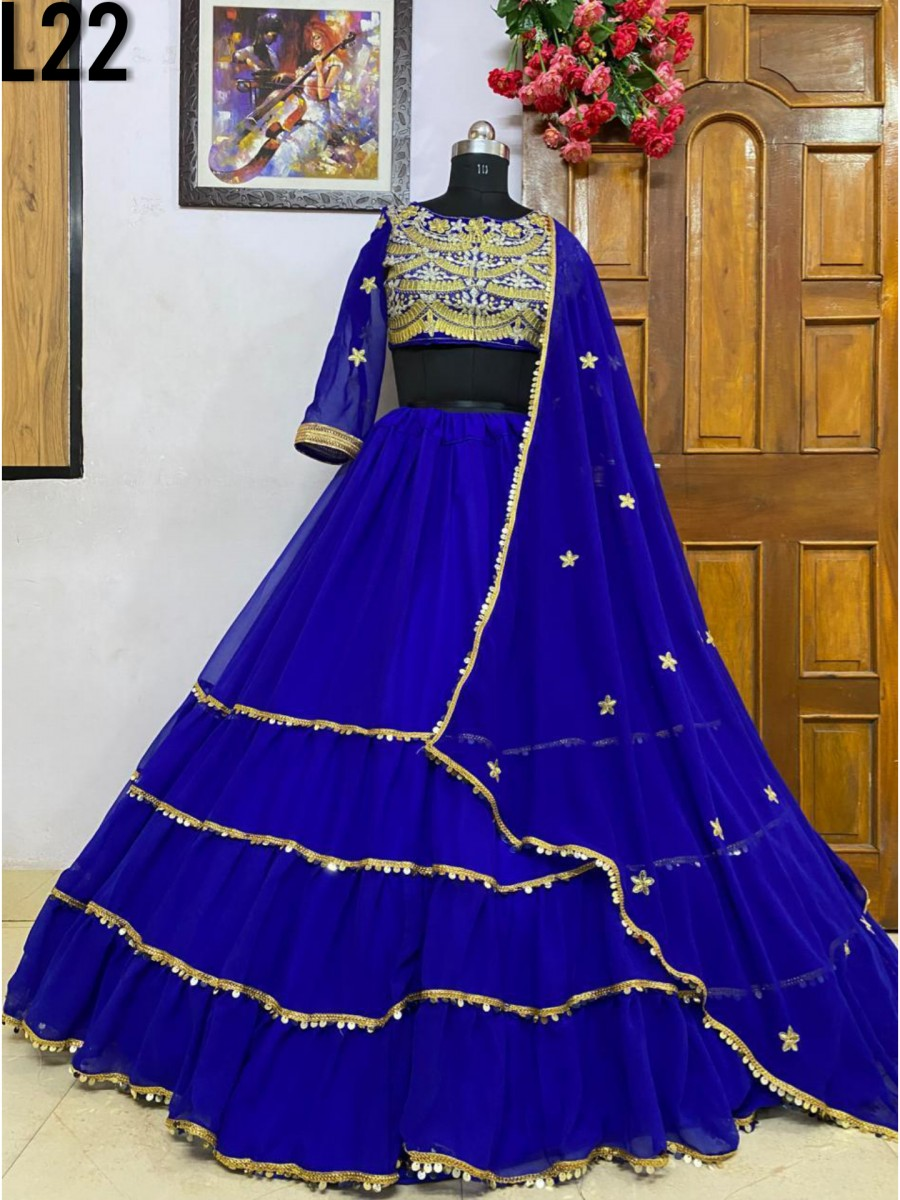 DESIGNER HEAVY GEORGETTE LEHENGA WITH HEAVY EMBROIDERY WORK L22