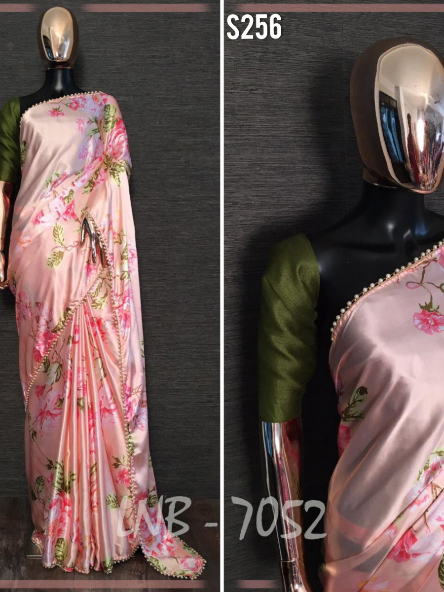 DESIGNER HEAVY JAPAN SATIN SAREE S256