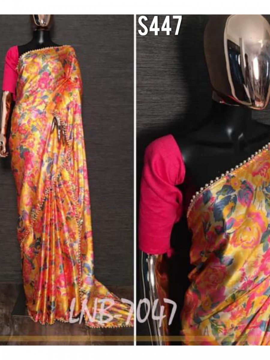 DESIGNER HEAVY JAPAN SATIN SAREE S447