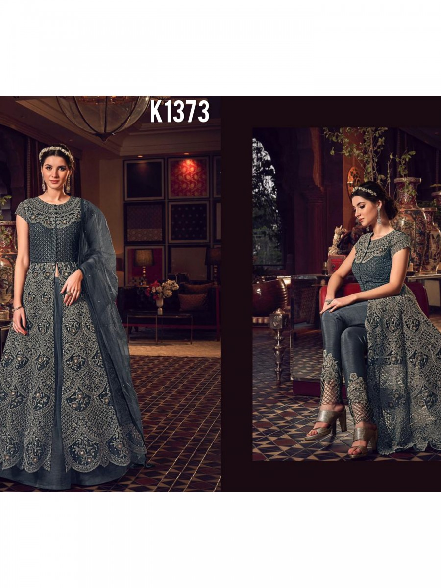 DESIGNER HEAVY MONO NET GOWN WITH CODDING EMBROIDERY WORK K1373