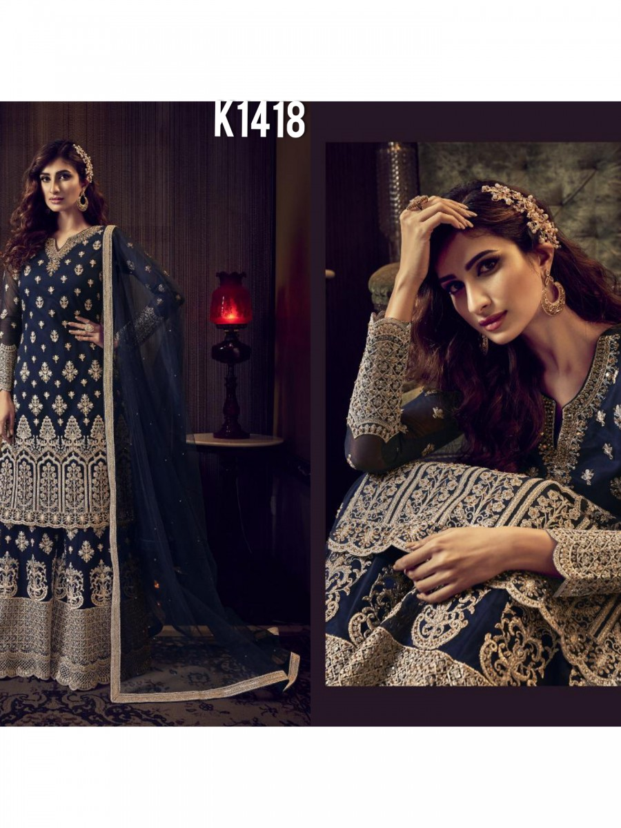 DESIGNER HEAVY NET KURTA WITH EMBROIDERY WORK K1418