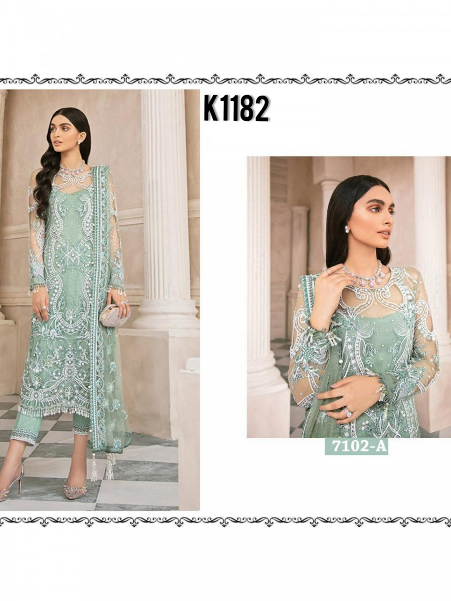 DESIGNER HEAVY NET KURTA WITH SEQUENCE WORK K1182
