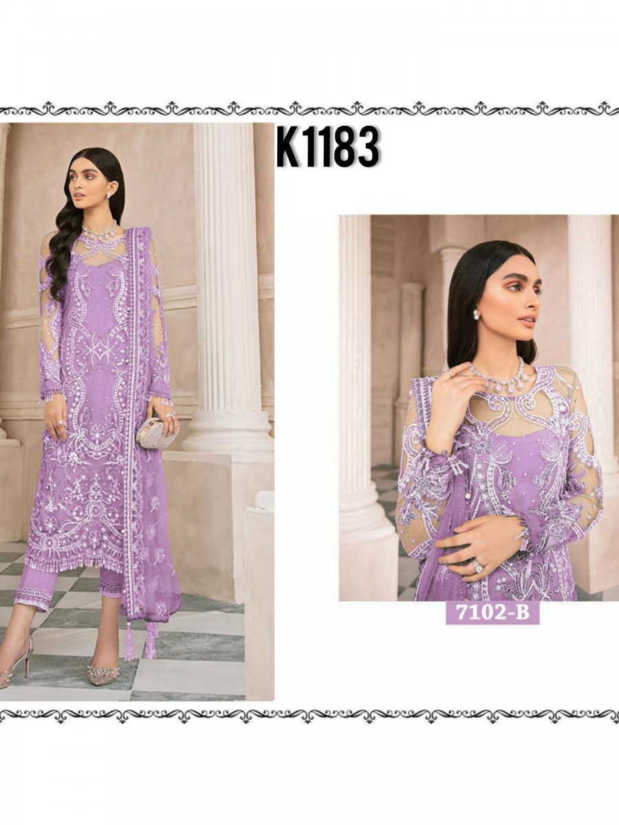 DESIGNER HEAVY NET KURTA WITH SEQUENCE WORK K1183