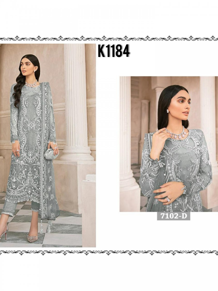 DESIGNER HEAVY NET KURTA WITH SEQUENCE WORK K1184