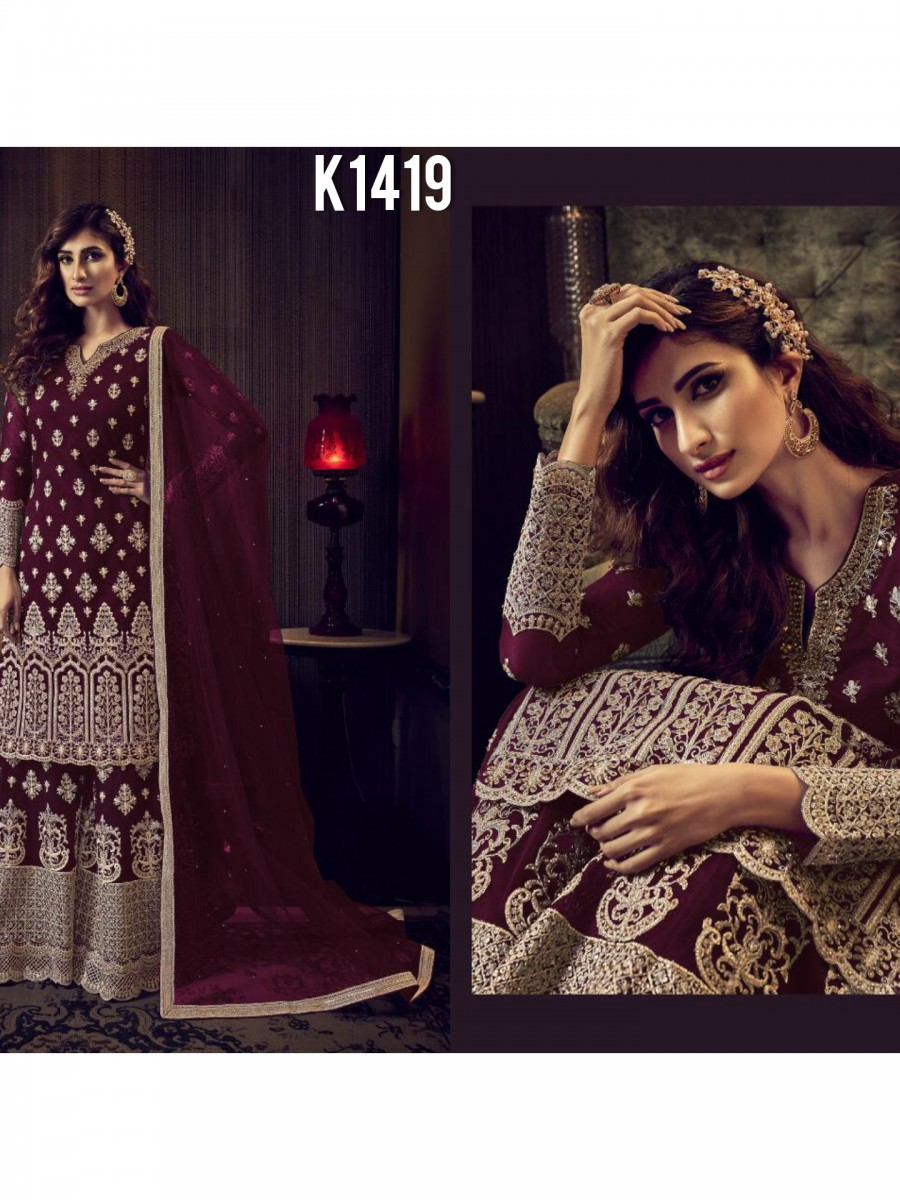 DESIGNER HEAVY NET KURTI WITH  EMBROIDERY WORK K1419