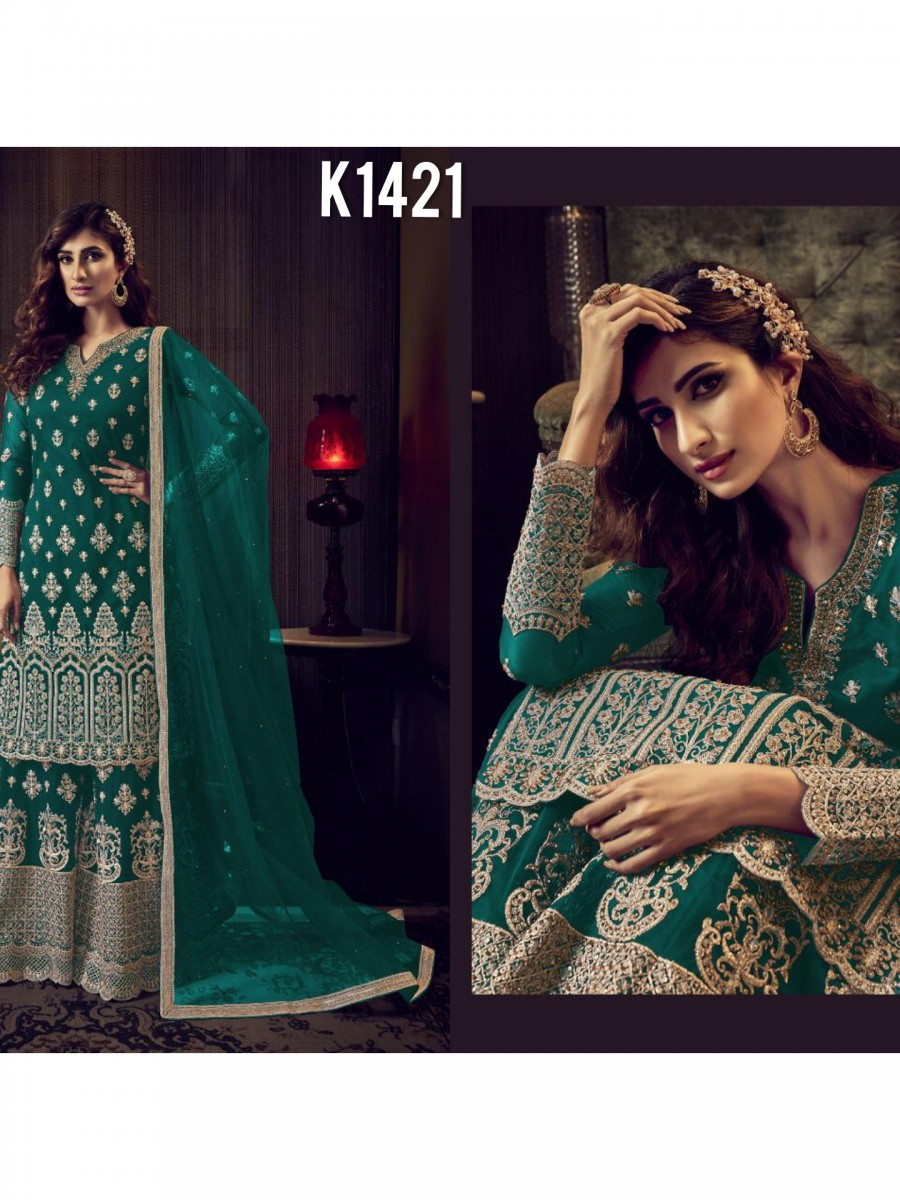 DESIGNER HEAVY NET KURTI WITH  EMBROIDERY WORK K1421