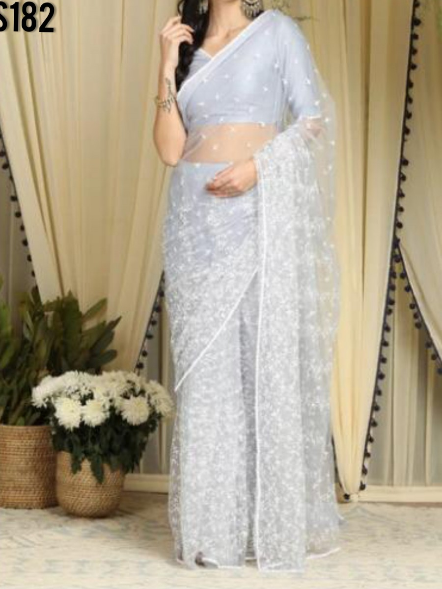 DESIGNER HEAVY NET SAREE WITH CHAIN WORK S182