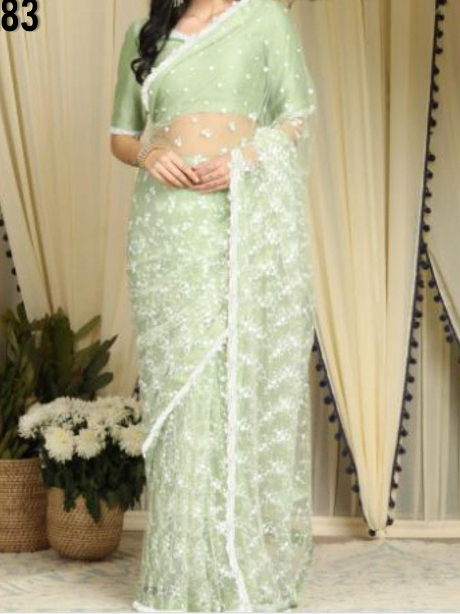 DESIGNER HEAVY NET SAREE WITH CHAIN WORK S183