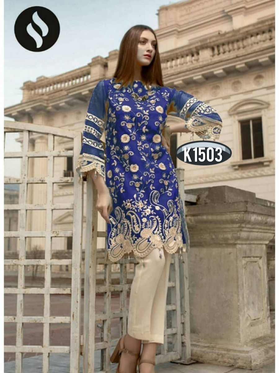 DESIGNER HEAVY RANGOLI KURTI WITH EMBROIDERY WORK K1503