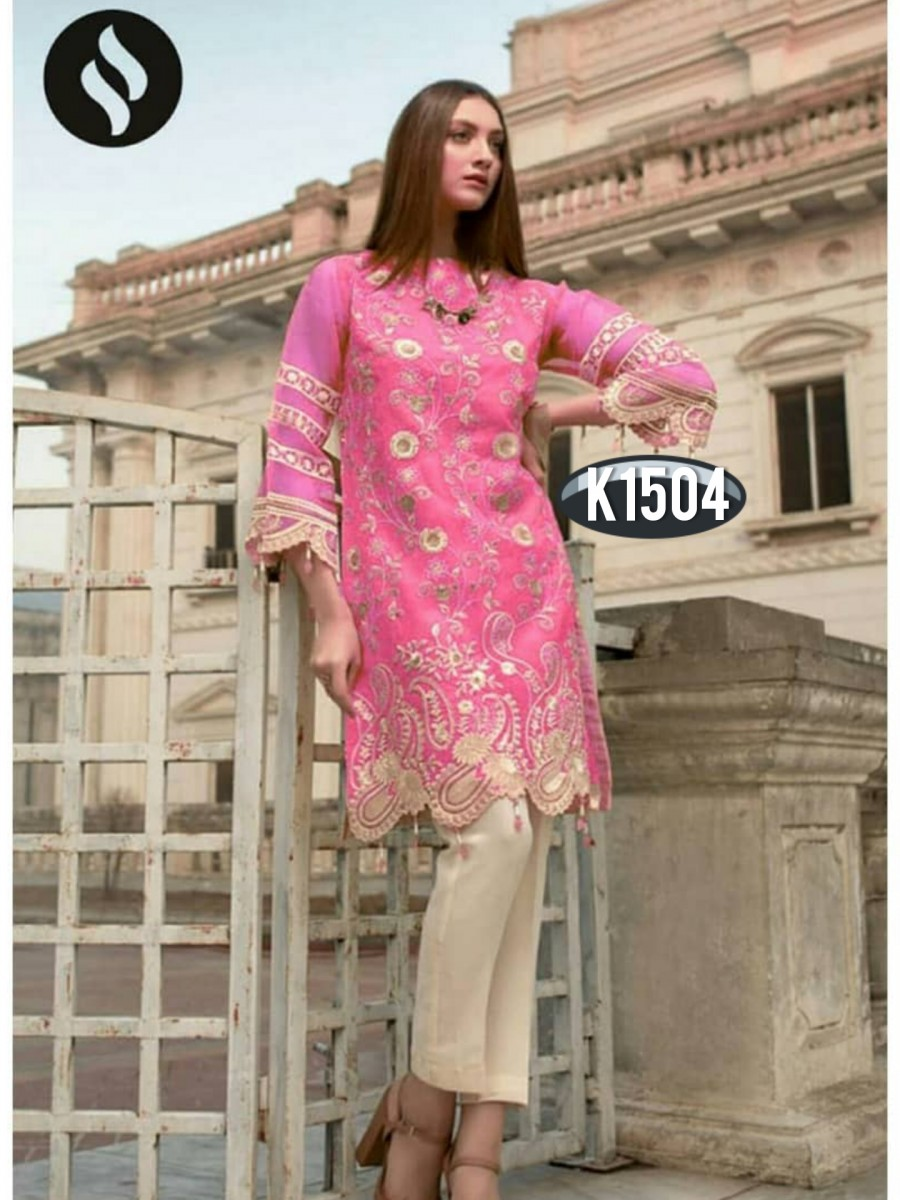 DESIGNER HEAVY RANGOLI KURTI WITH EMBROIDERY WORK K1504
