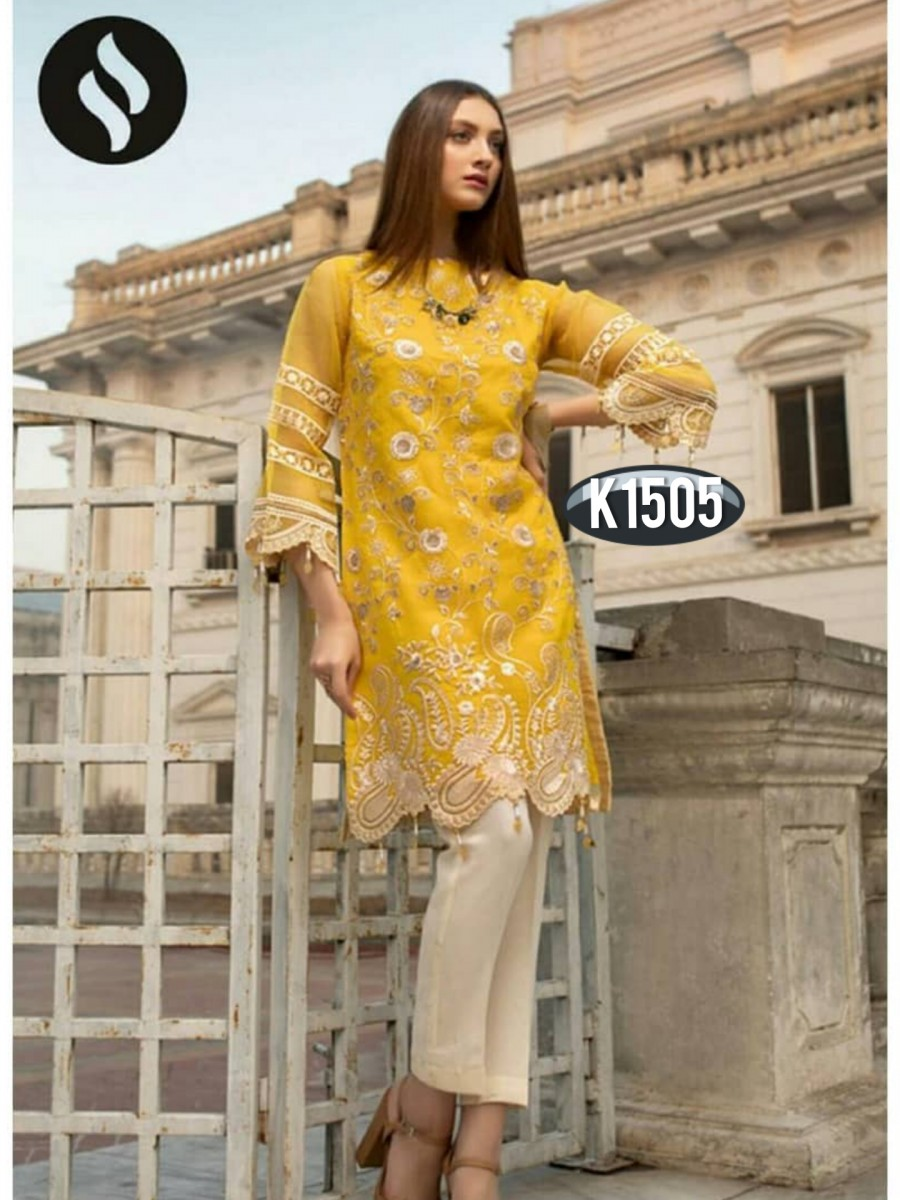 DESIGNER HEAVY RANGOLI KURTI WITH EMBROIDERY WORK K1505