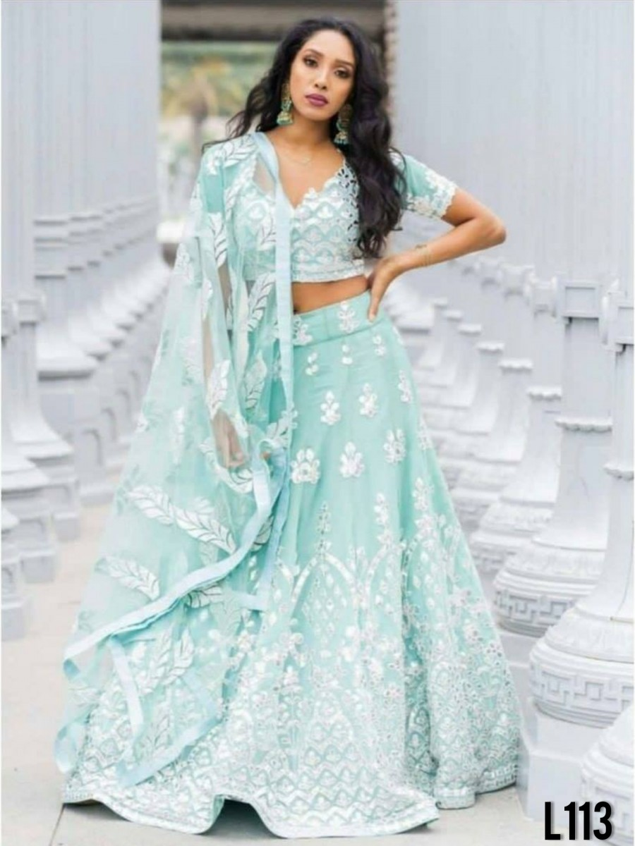 DESIGNER HEAVY SOFT NET LEHENGA WITH EMBROIDERY WORK L113
