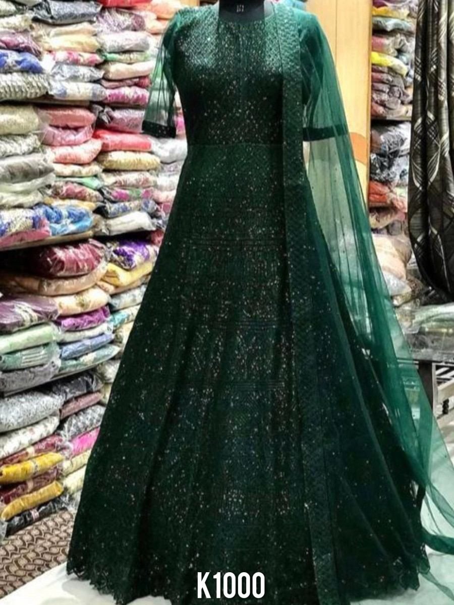 DESIGNER HEAVY SOFT NET PARTY WEAR GOWN K1000