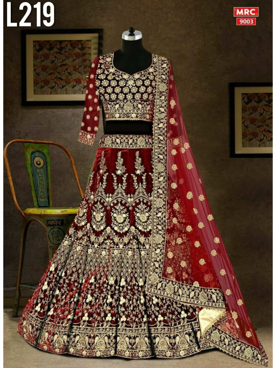 DESIGNER HEAVY VELVET LEHENGA WITH CODDING EMBROIDERY WORK L219