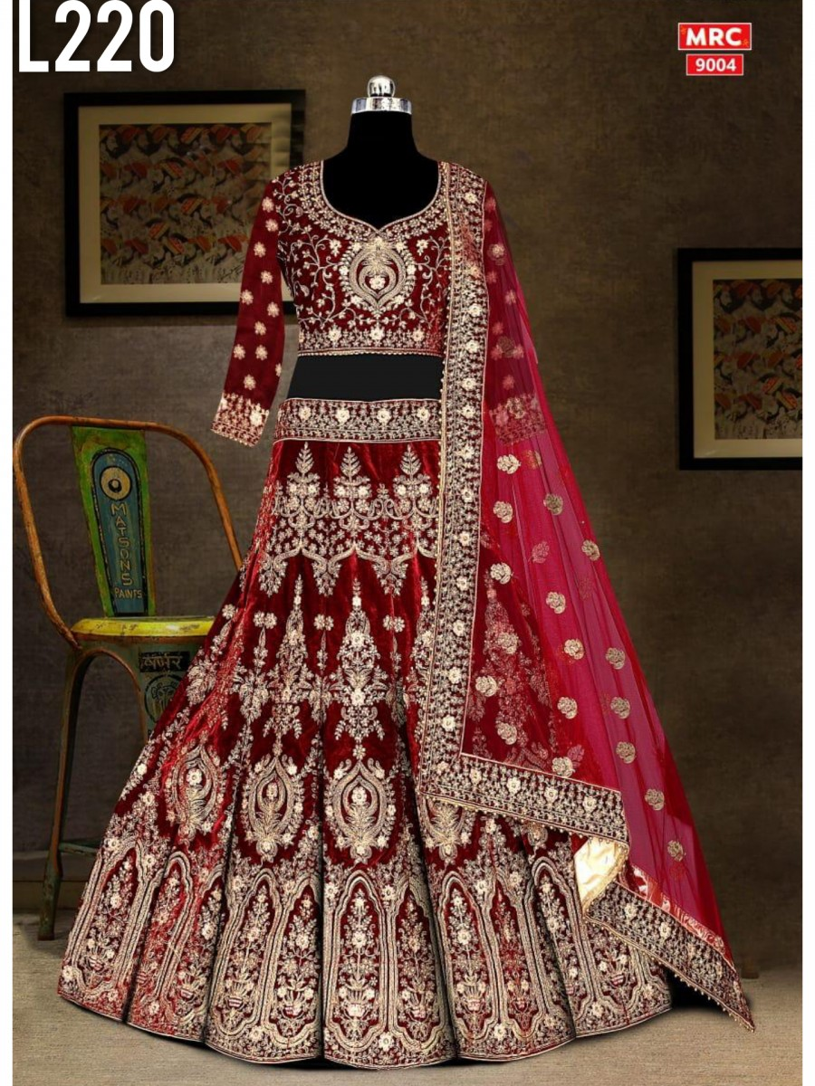 DESIGNER HEAVY VELVET LEHENGA WITH CODDING EMBROIDERY WORK L220