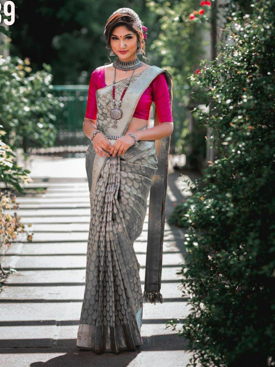 DESIGNER KANCHIPURAM SILK SAREE WITH SILVER ZARI S39