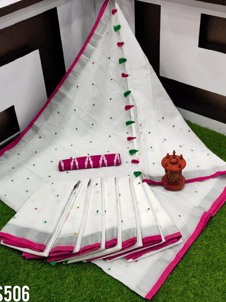 DESIGNER LINEN COTTON SAREE S506