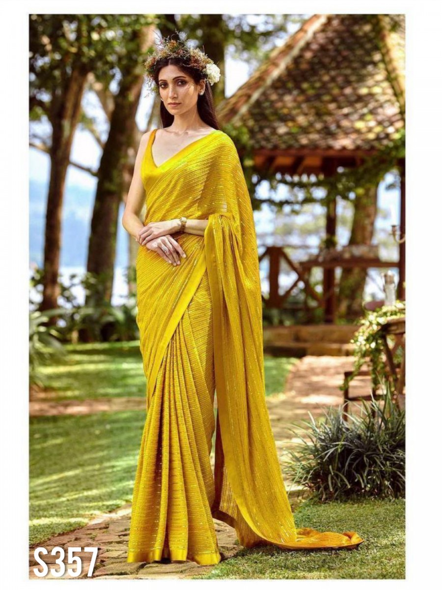 DESIGNER MOSS GEORGETTE SAREE WITH SEQUENCE WORK S357