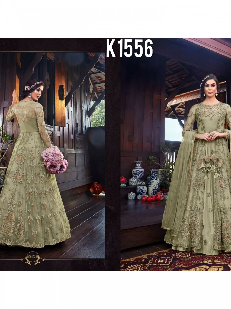 DESIGNER NET EMBROIDERY GOWN K1556