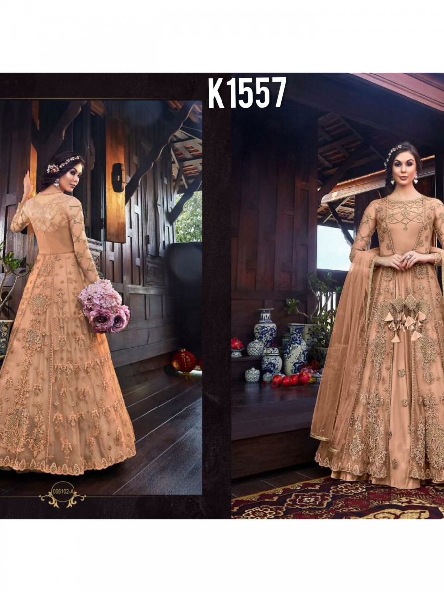 DESIGNER NET EMBROIDERY GOWN K1557