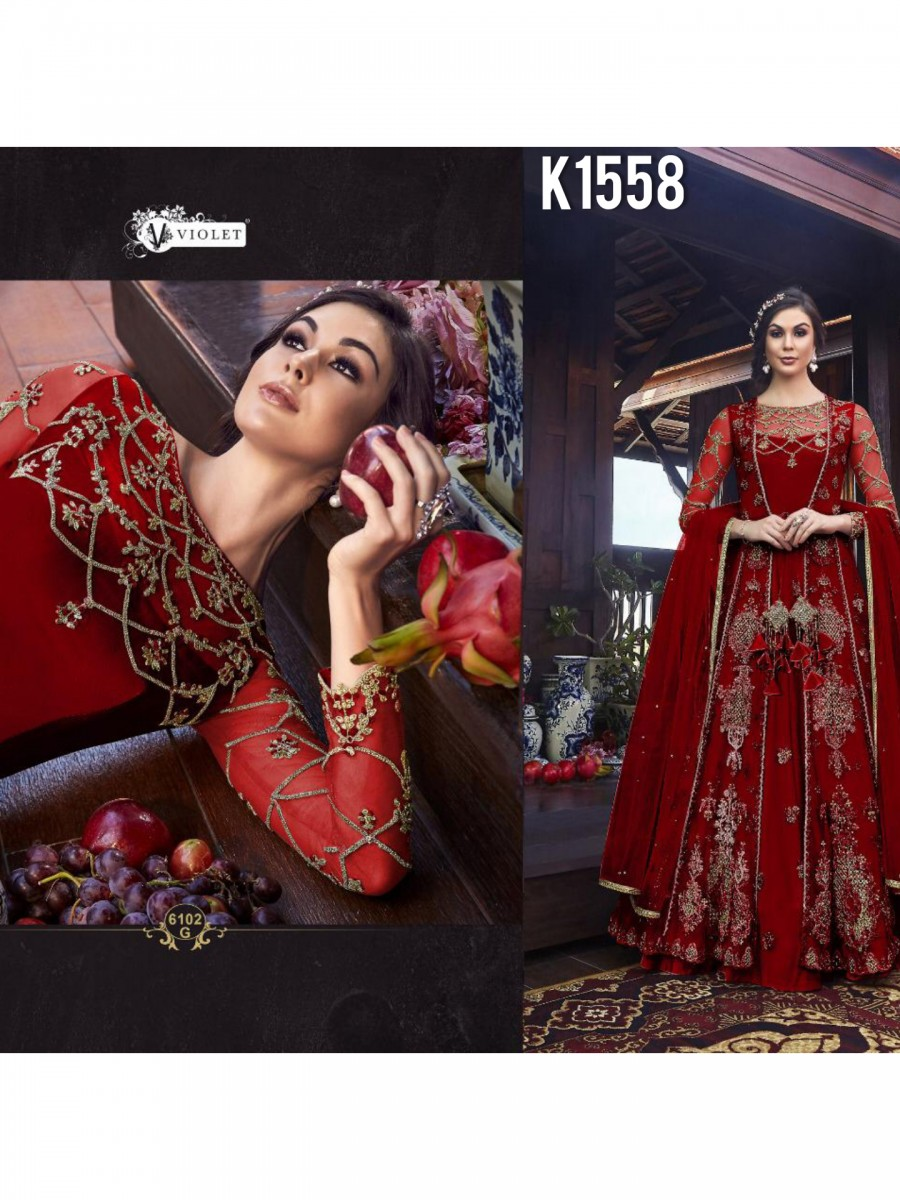 DESIGNER NET EMBROIDERY GOWN K1558