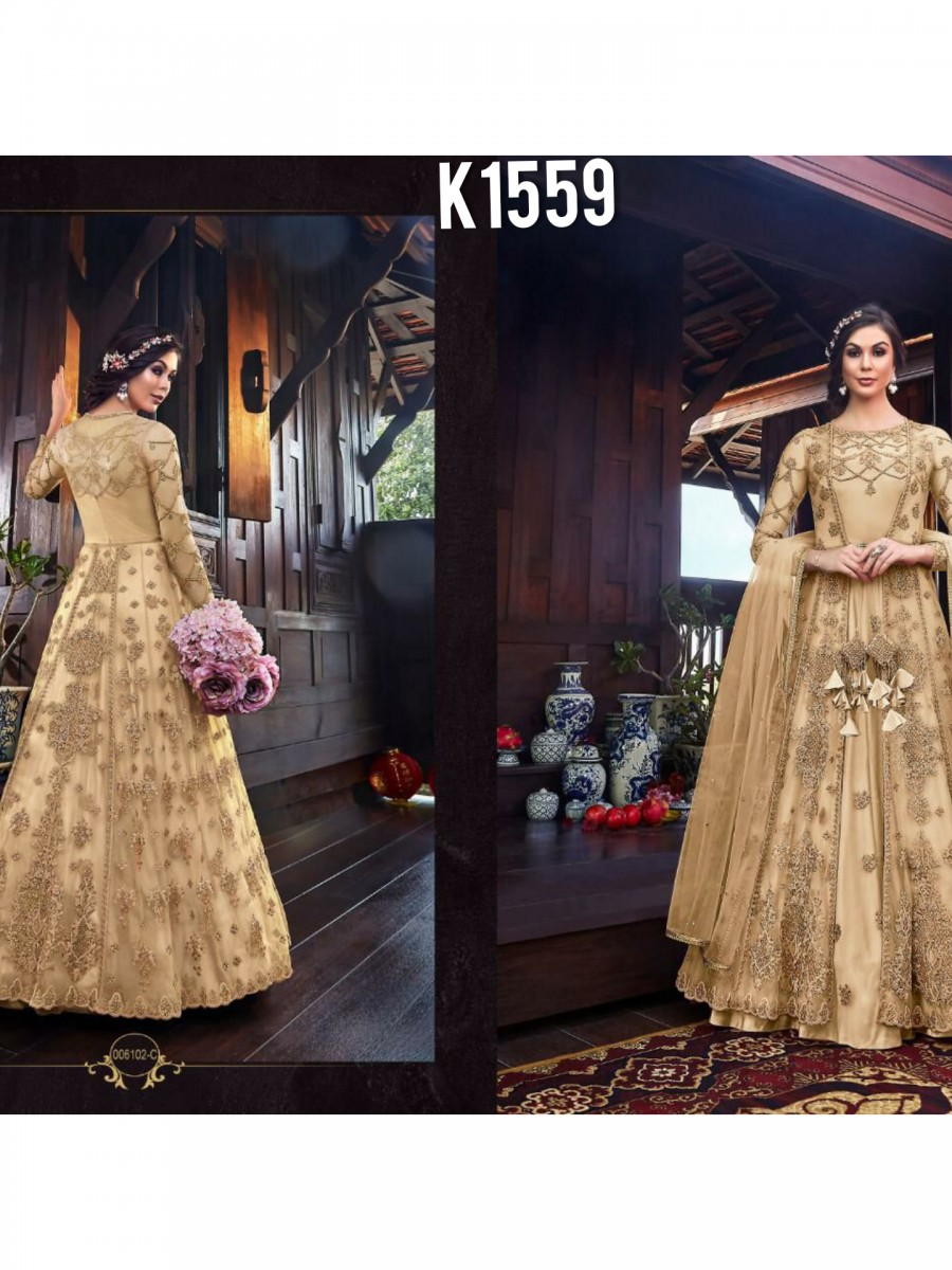 DESIGNER NET EMBROIDERY GOWN K1559