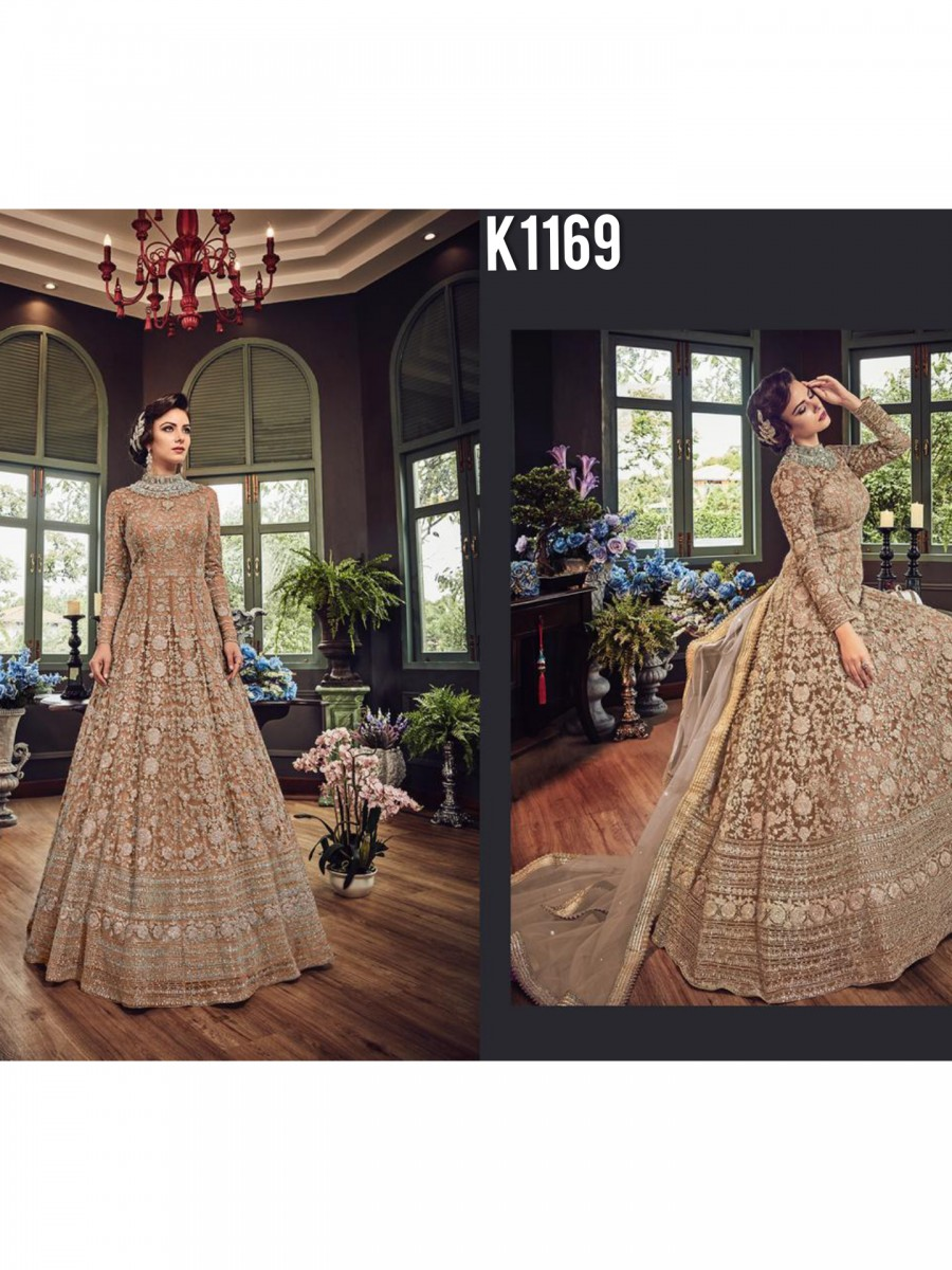 DESIGNER NET GOWN WITH EMBRODIERY CODDING WORK K1169