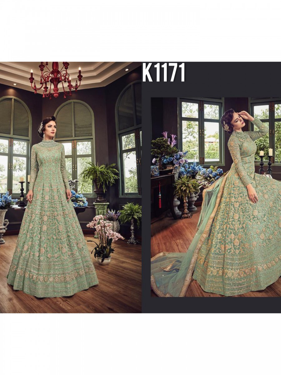 DESIGNER NET GOWN WITH EMBRODIERY CODDING WORK K1171