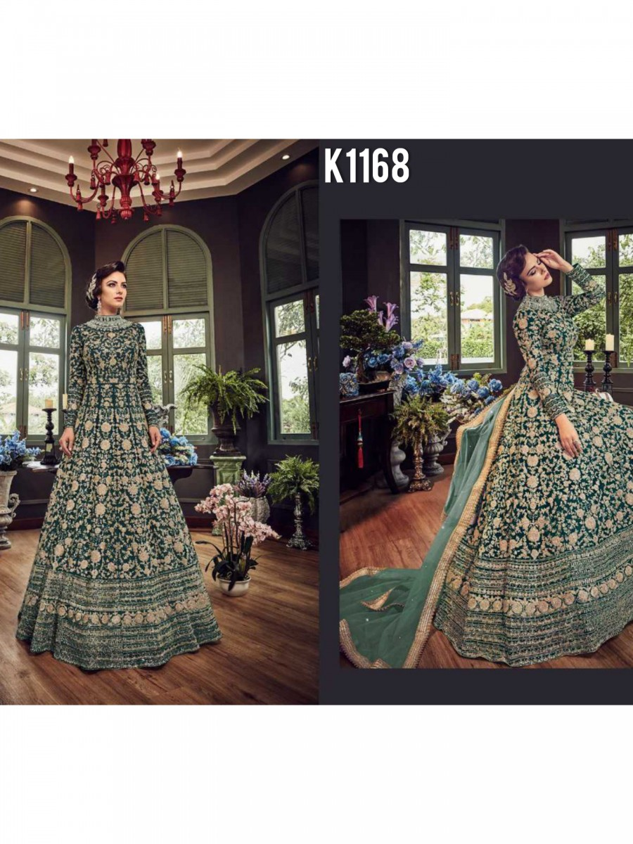 DESIGNER NET GOWN WITH EMBROIDERY CODDING WORK K1168