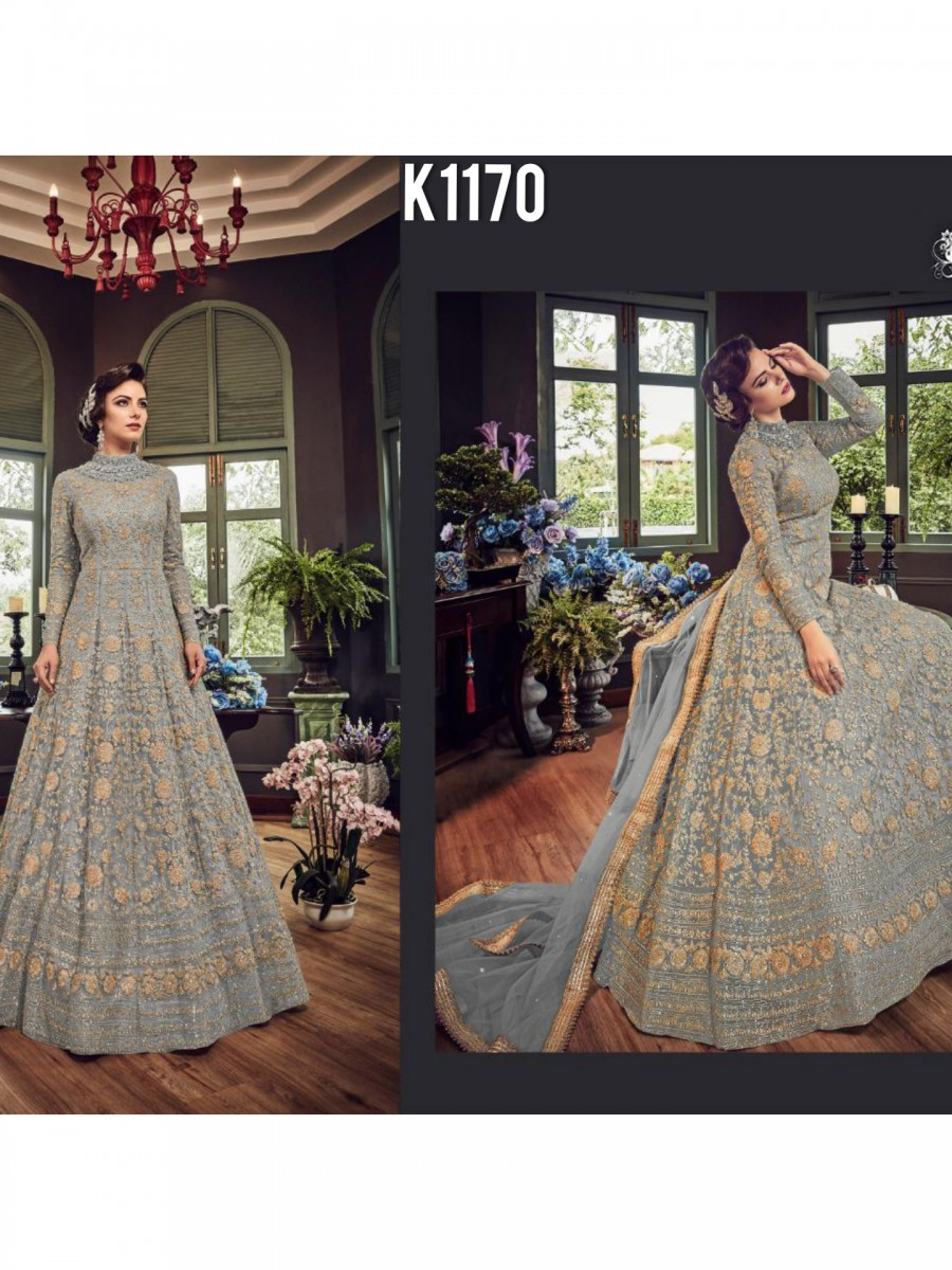 DESIGNER NET GOWN WITH EMBROIDERY CODDING WORK K1170
