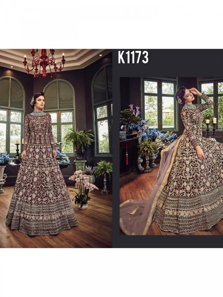DESIGNER NET GOWN WITH EMBROIDERY CODDING WORK K1172