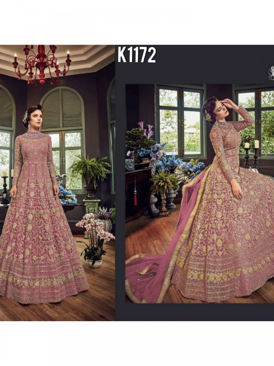 DESIGNER NET GOWN WITH EMBROIDERY CODDING WORK K1173