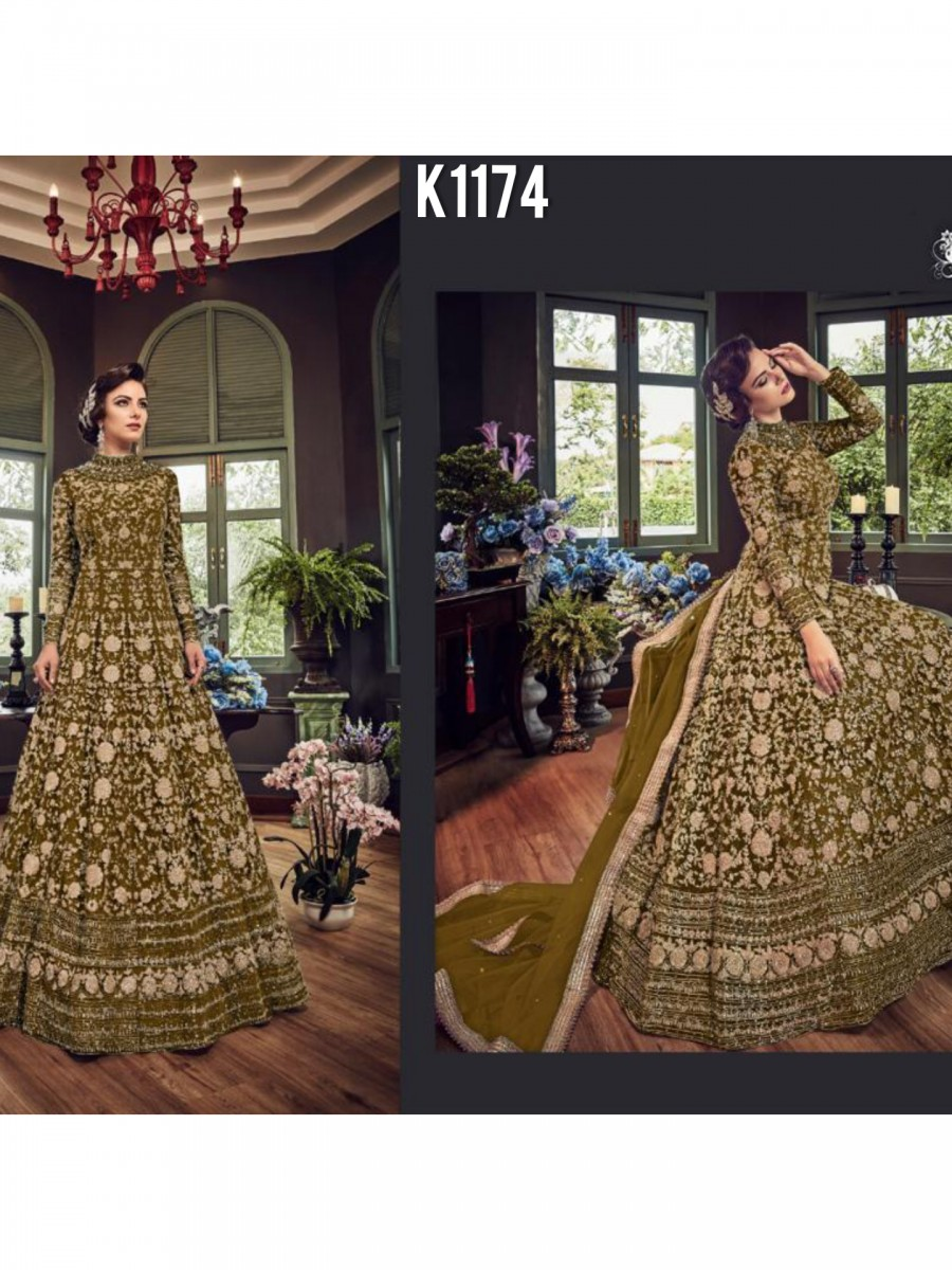 DESIGNER NET GOWN WITH EMBROIDERY CODDING WORK K1174