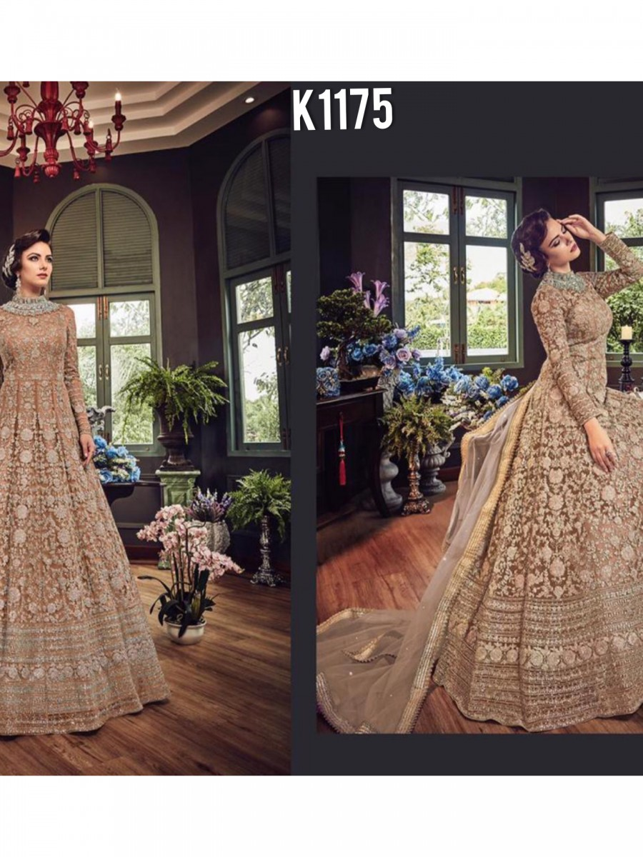 DESIGNER NET GOWN WITH EMBROIDERY CODDING WORK K1175