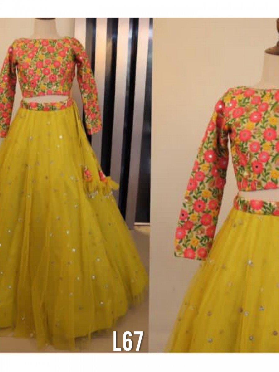 DESIGNER NET LEHENGA WITH SEQUENCE WORK L67