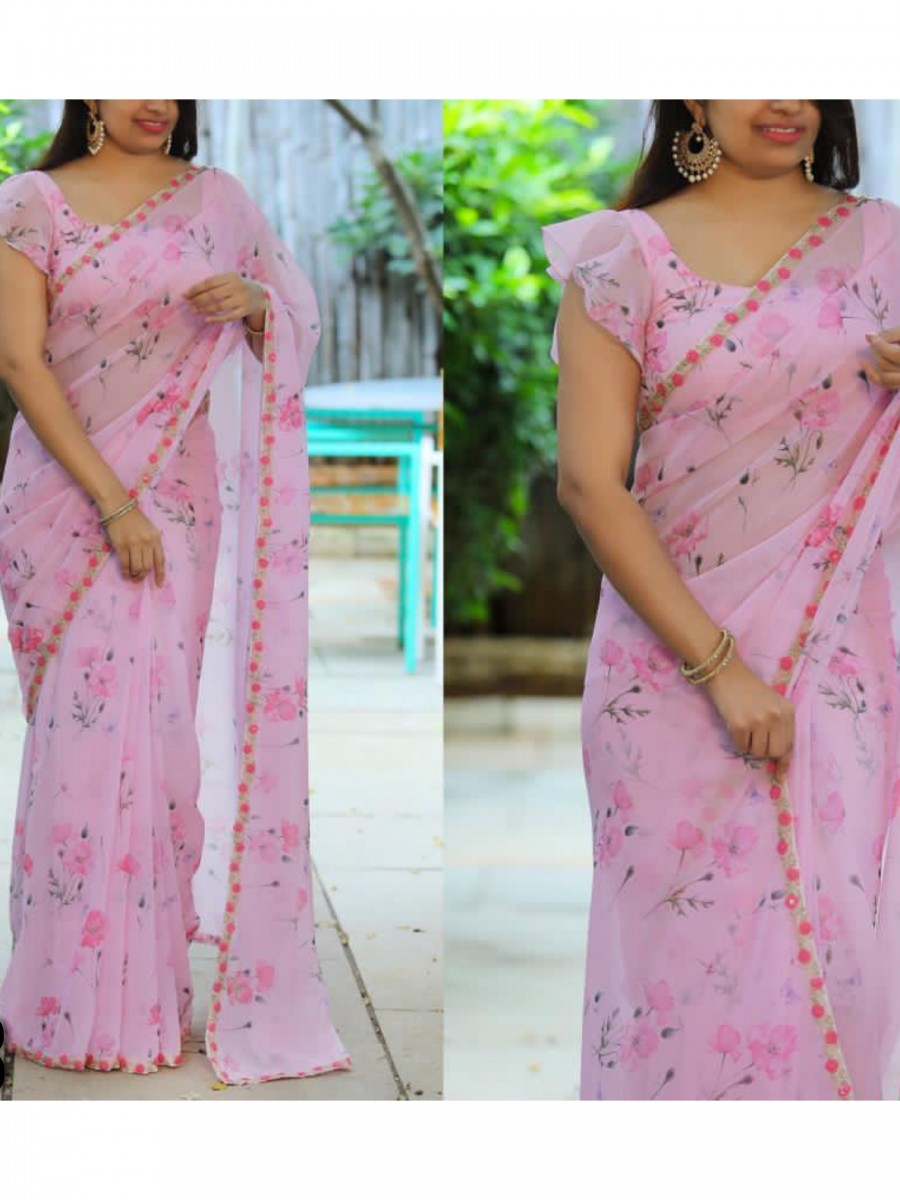 DESIGNER PRINTED GEORGETTE SAREE WITH SEQUENCE WORK S38