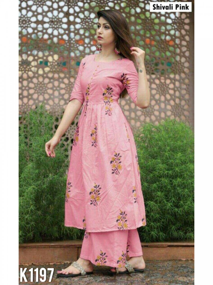 DESIGNER PURE JACQUARD COTTON KURTI WITH PLAZZO K1197
