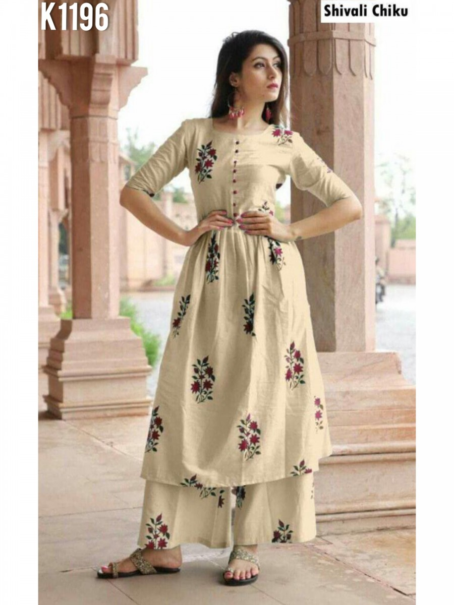 DESIGNER PURE JAIPURI COTTON KURTI WITH PLAZZO K1196