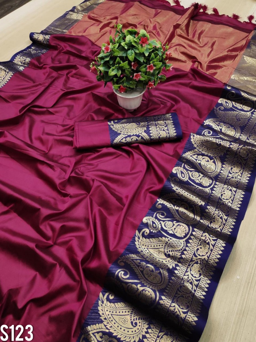 DESIGNER PURE MERCERISED COTTON SILK SAREE S123
