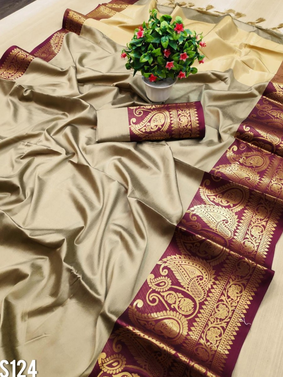 DESIGNER PURE MERCERISED COTTON SILK SAREE S124