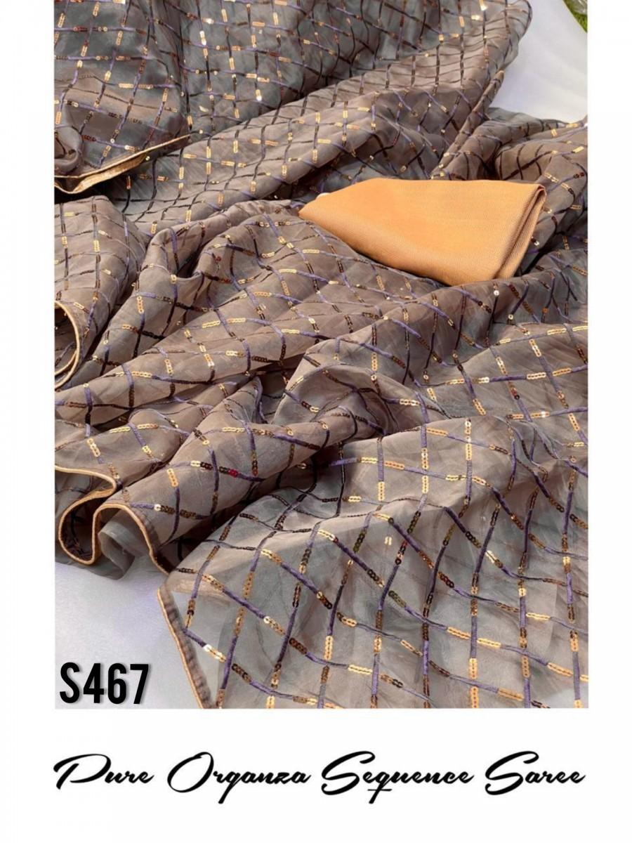 DESIGNER PURE ORGANZA SILK SAREE S467
