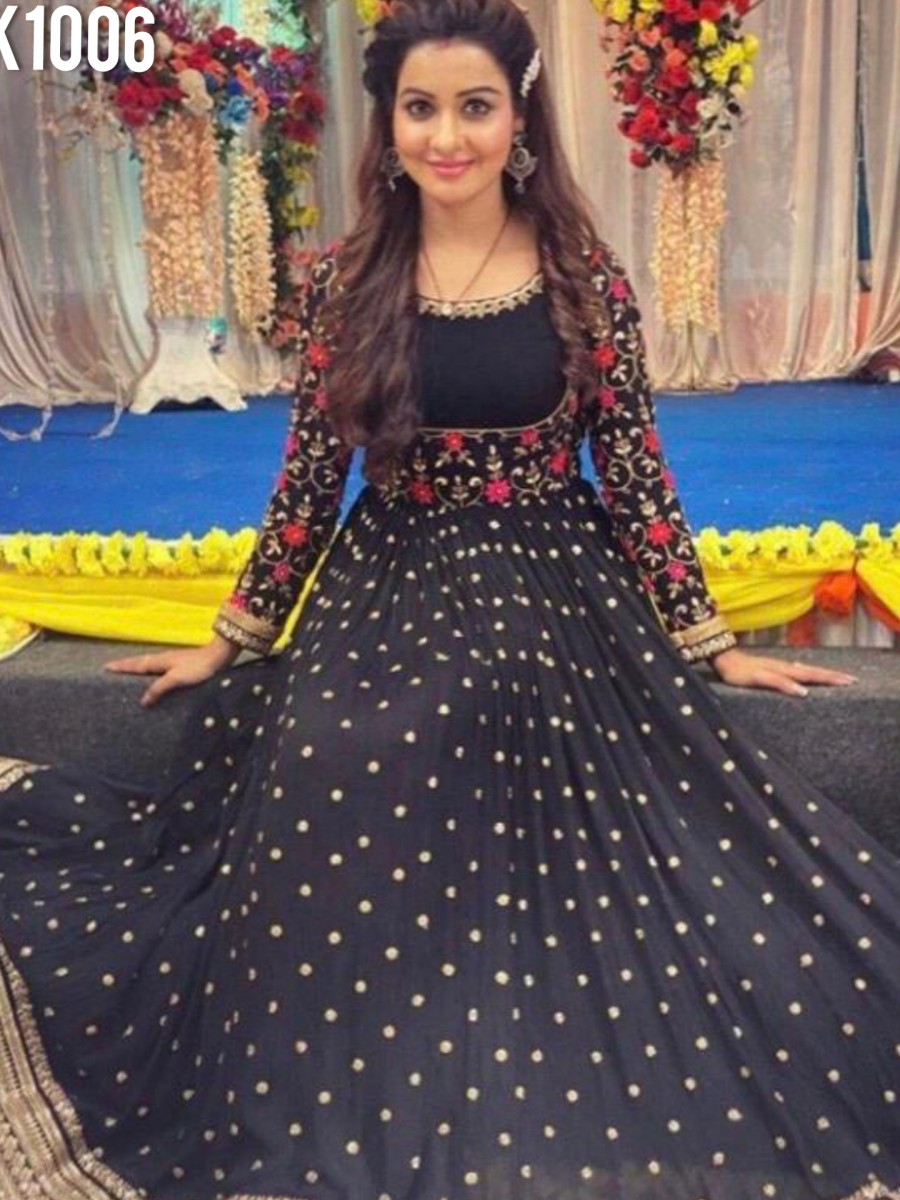 DESIGNER RAYON ANARKALIWITH MIRROR AND EMBROIDERY WORK K1006