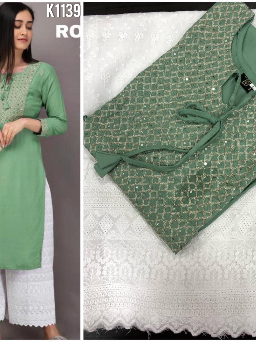 DESIGNER RAYON KURTA WITH EMBROIDERY WORK K1139