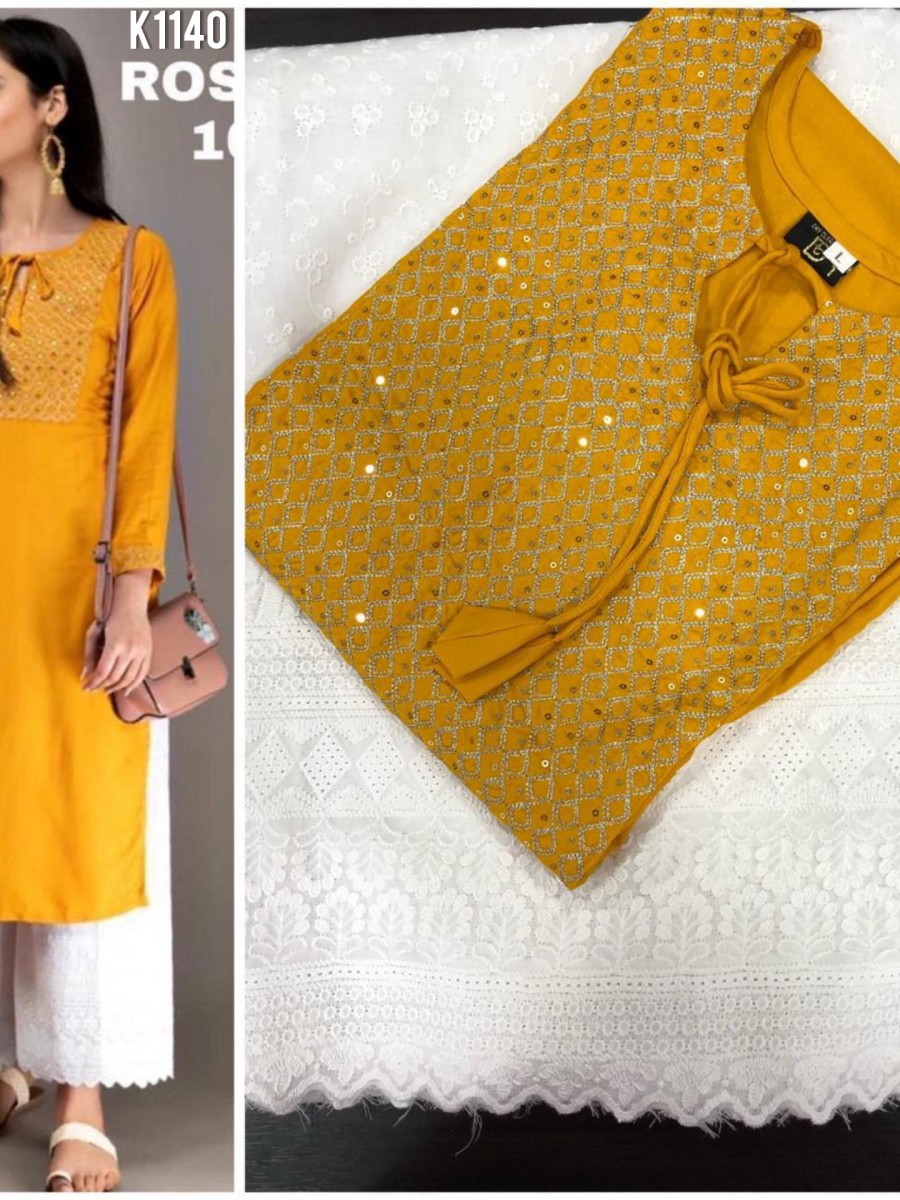 DESIGNER RAYON KURTA WITH EMBROIDERY WORK K1140