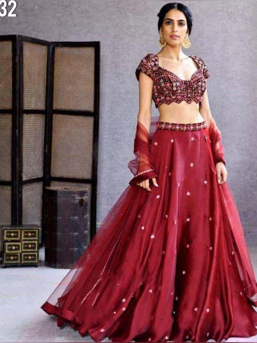 DESIGNER SATIN GEORGETTE LEHENGA WITH EMBROIDERY WORK L32