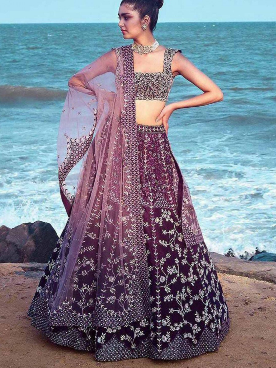DESIGNER SATIN SILK LEHENGA WITH HEAVY EMBROIDERY WORK L58