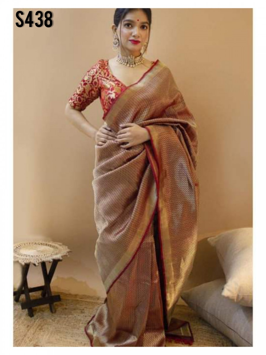 DESIGNER SEMI BANARASI WEAVING SILK SAREE S438
